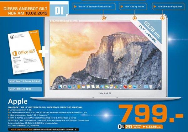 "Apple Macbook Air 13"" MD760D/B inkl. Microsoft Office 365 Personal@ Saturn Hamburg"