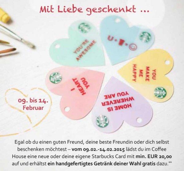 [Starbucks] - 20€ auf aufladen, 1 handgefertigtes Getränk sofort kostenlos erhalten