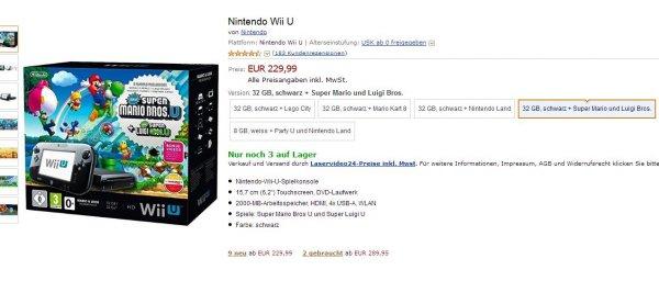 Nintendo Wii U - Premium Black Bundle Super Mario Bros. für 232,99€