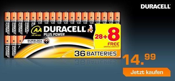 [Saturn] DURACELL Plus Power- AA LR6 - 36stk für 14,99€ ohne Versandkosten
