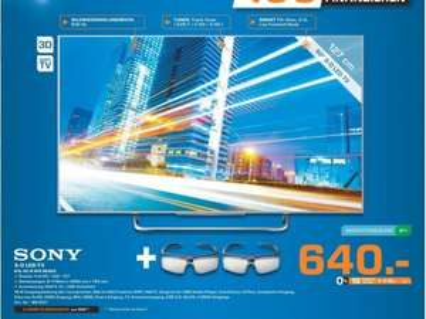 [Lokal Saturn Bochum] SONY BRAVIA KDL-50W815B 3D LED-Fernseher für 640,-€...109€ unter Idealo