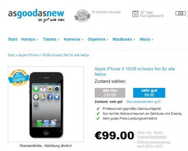 """Preisfehler??? Apple iPhone 4 16gb schwarz (refurbished, Zustand """"sehr gut"""") für 99€"""