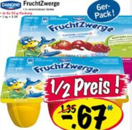 6er Packung Danone-Fruchtzwerge für 0,67 EUR!! (Normalpreis mind. 1,35 EUR) @LIDL bundesweit