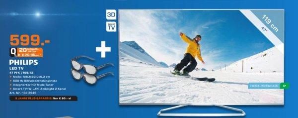 [Lokal Saturn Dortmund] Philips , EEK:A+ 7000 series Ultraflacher Smart Full HD-LED-Fernseher 47PFK7109 (Schwarz) für 599,-€