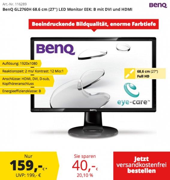 """BenQ GL2760H 68.6 cm (27"""") LED Monitor EEK: B mit DVI und HDMI für 159,-€ Versandkostenfrei@Comtech"""