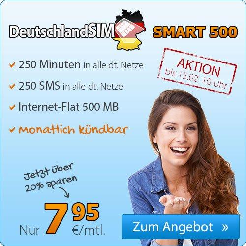 DeutschlandSIM Smart 500 für nur 7,95/Monat ohne Mindestvertraslaufzeit