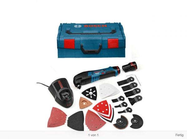 Bosch Akku-Multi-Cutter GOP 10,8 V-LI Professional inkl. 2 Akkus 1,5 Ah, Ladegerät, L-Boxx + 36 tlg. Zubehörset