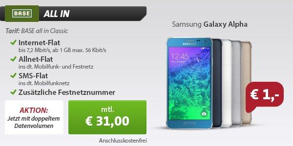 Doppeltes Datenvolumen und TOP-Smartphone für 1,00 €