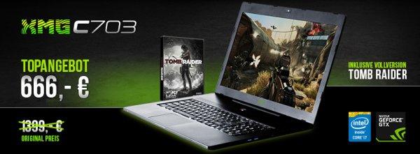"Schenker XMG C703 CORE Gaming Notebook 43,9cm (17.3"") - 8GB RAM - Intel Core i5-4200H + SE Tastatur - Tomb Raider Edition 128GB SSD + 500GB Win 8.1"