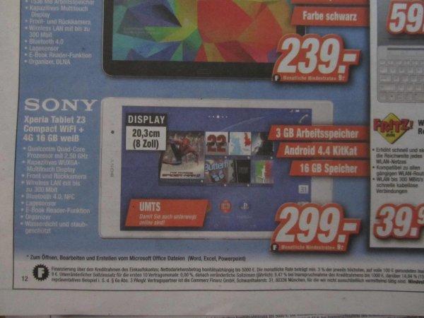 [Lokal Expert Region Hannover] SONY Xperia Tablet Z3 Compact WIFI + 4G 16GB in weiß für 299,-€