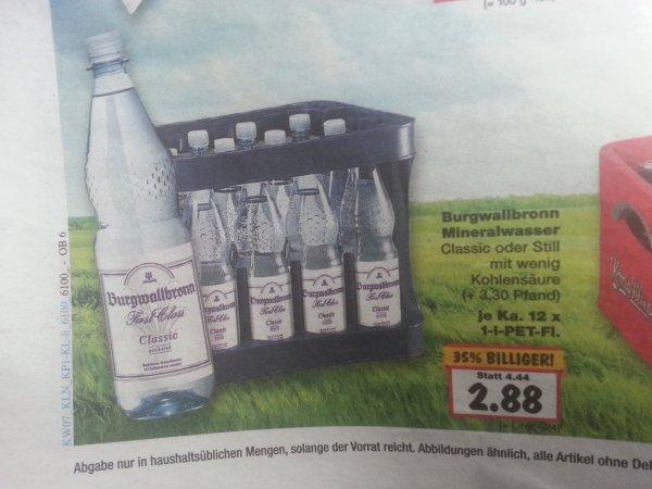[LOKAL Kaufland Bottrop] Kasten Burgwallbronn Mineralwasser Classic oder Still 2,88€ statt 4,44€ KW7 [evtl. Bundesweit?]