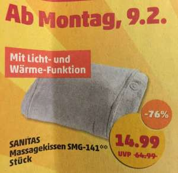 "[Penny NRW] Aktion ""Super-Rabatte"" z.B. Sanitas Massagekissen SMG-141 14,99€"