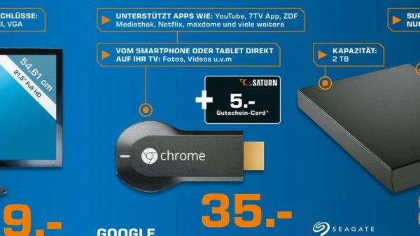 Chromecast für 35€ + 5€ Saturn Gutschein + 6€ Play Guthaben