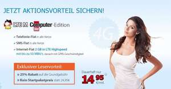 Allnet Flat / SMS Flat / 2 GB bei 50,0 Mbit/s LTE für 14,95 € auf der Rechnung im o² Netz, das ist die DeutschlandSIM LTE M ComputerBILD-Edition - noch immer AKTUELL (zzgl. 4,95 VSK)