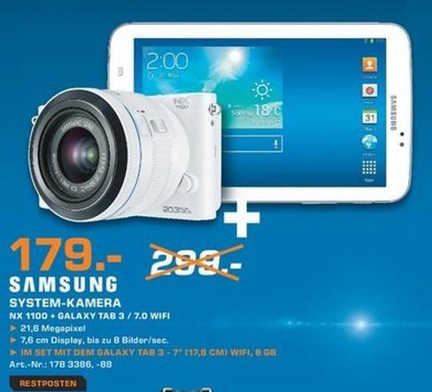 [Lokal Berlin] Samsung NX1100 Systemkamera + Galaxy Tab 3 7.0 + ggf. Adobe Lightroom für zusammen 179€ im Saturn Leipziger Platz