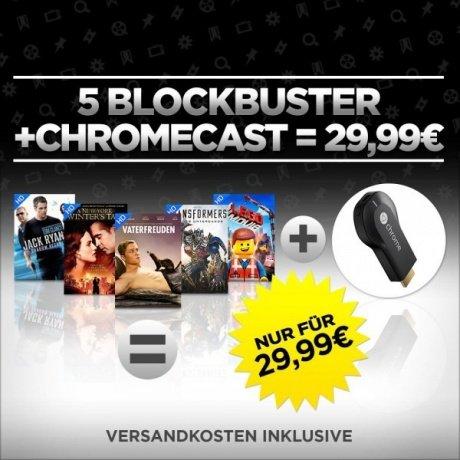 Google Chromecast inkl. den Filmen The Lego Movie, Transformers 4, Vaterfreuden, Jack Ryan und Winters Tale für 29,99€