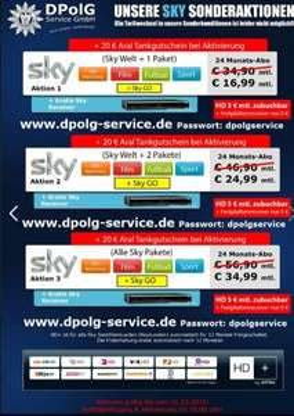 DPolG  für Polizei und ÖD  Sky komplett 39,99 plus 20€ Tankgutschein / o2 Buisness Xl ab 19,99€