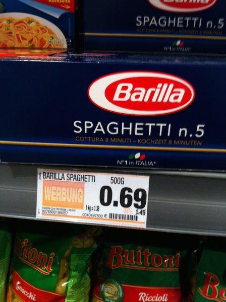 Leipzig Edeka: Barilla Spaghetti 500g 0,69€ -54% statt 1,49€