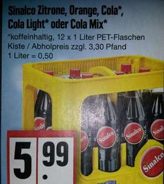 [Edeka] 1 Kiste Sinalco Zitrone, Orange, Cola, Cola Light oder Cola Mix
