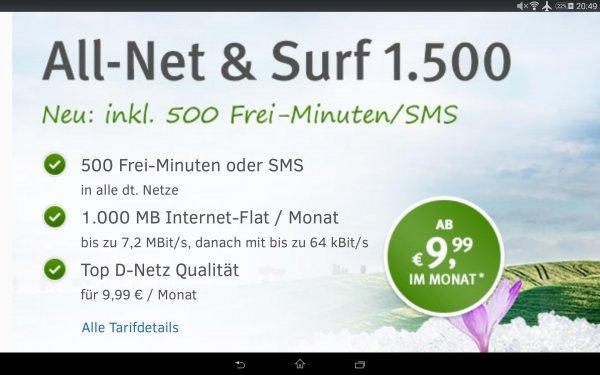 1&1 (Vodafone) 500 min/sms + 1 GB Flat nur 9,99 Euro/Monat