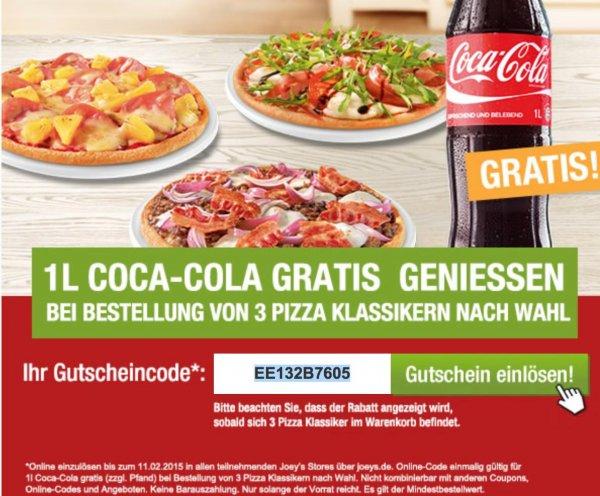 [JOEYS ONLINE] 3x Pizza bestellen + 1 Liter CocaCola gratis
