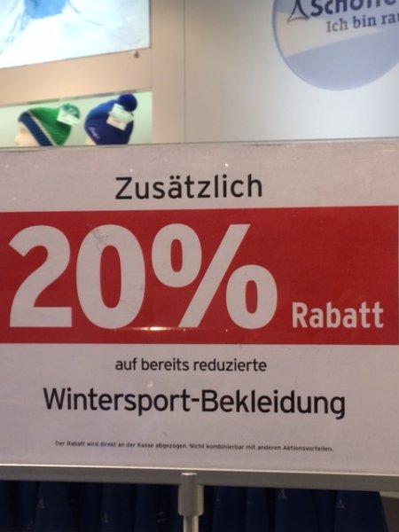 Zeit zum Skilaufen! Bei Karstadt Sport gibt es noch tolle Wintersportbekleidung im Sondersale! 20% auf bereits reduzierte Ware!!