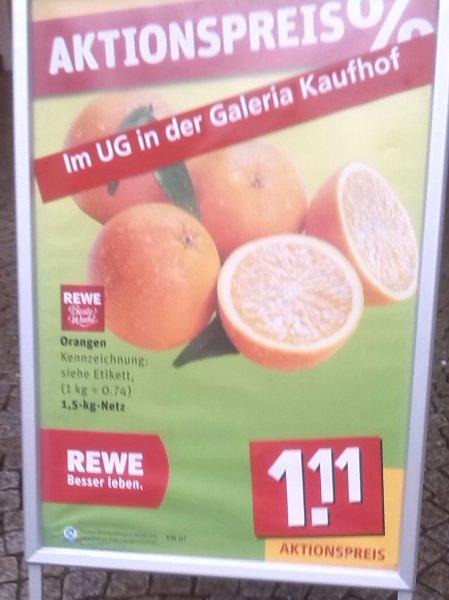 [Bundesweit] REWE Orangen 1,5 kg (0,74€ / kg) oder 2,07€ für zwei Netze (Payback)