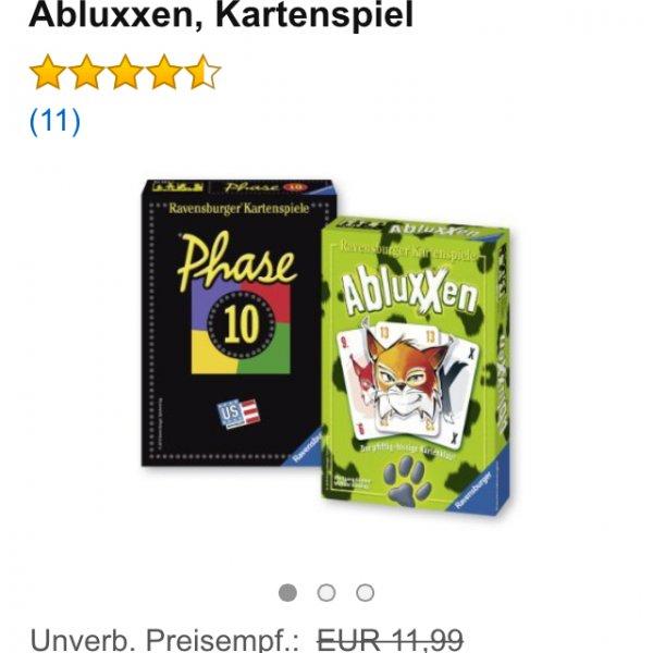 Phase 10 inklusive Abluxxen @amazon für 12,99€ (9,99€ mit Prime)