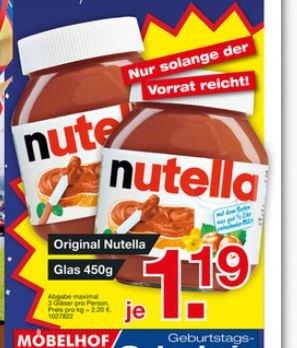 [Möbelhof Ingolstadt / Parsberg] Nutella 450g für 1,19€