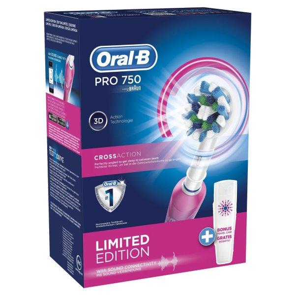 [Amazon/Mediamarkt] Braun Oral-B PRO 750 Elektrische Zahnbürste mit Reiseetui in rosa für 34,99 €