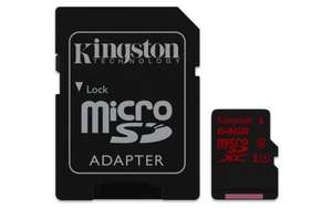 [Amazon] Kingston SDCA3 64GB micro SDXC 90R/80W UHS-I U3