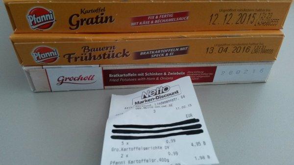 (Lokal - Netto Dortmund) Pfanni & Grocholl Bratkartoffeln & Kartoffelgratin für nur 99 Cent!