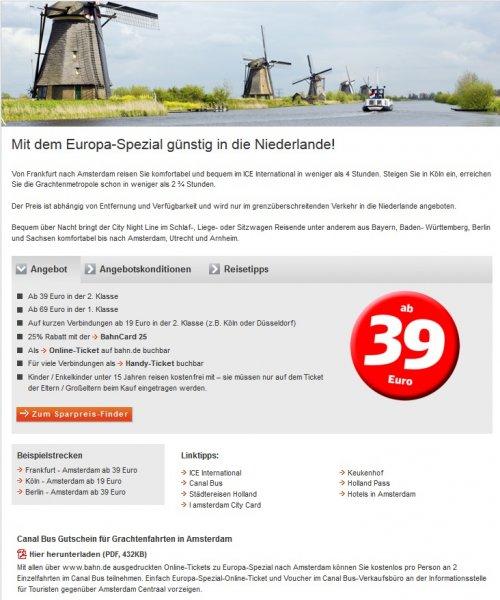 Deutsche Bahn Europa-Spezial Köln-Amsterdam 19€ Frankfurt-Amsterdam 39€