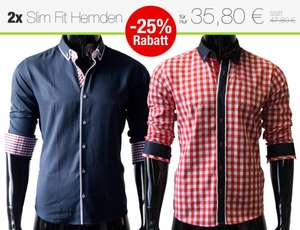 25% Rabatt - 2x Slim Fit Herren Hemden im Polo-Stil (Button-Down-Kragen) [eBay]