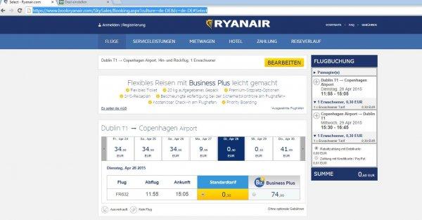 Je 30 Cent für Hin- oder Rückflug von Kopenhagen nach Dublin mit Ryanair - März/April