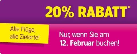 20% WizzAir Rabatt - Nur heute am 12. Februar - Alle Flüge