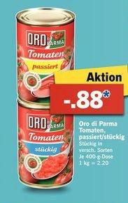 [Lidl Bundesweit ab 16.02] Oro di Parma..Tomaten Passiert / Stückig....je 400 Gramm Dose für 0,88 Cent