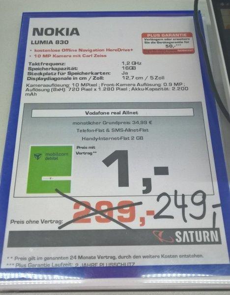 (Saturn Hannover Bhf) Nokia Lumia 830 für 249€ NUR DIESES WOCHENENDE