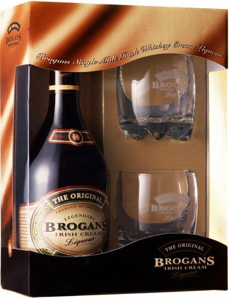 [Kaufland Rüsselsheim] Brogans Single Malt Irish Whiskey Cream (70cl, 17%), Geschenkset, mit zwei Tumblern