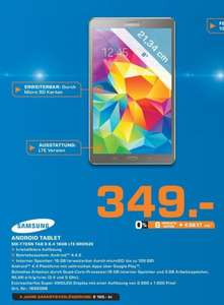 [Saturn Gelsenkirchen] Samsung Galaxy Tab S 8.4 Zoll 16 GB LTE Bronze - 249€ dank Cashback