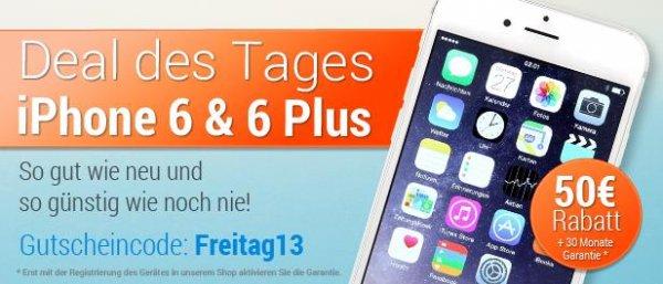 Tagesdeal zum Freitag den 13. -> 50 € Rabatt auf alle iPhone 6  (refurbished) bei asgoodasnew.com