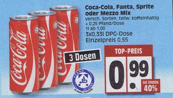 [Edeka]  3 Dosen Coca-Cola, Fanta,Sprite oder Mezzo Mix  0,99€