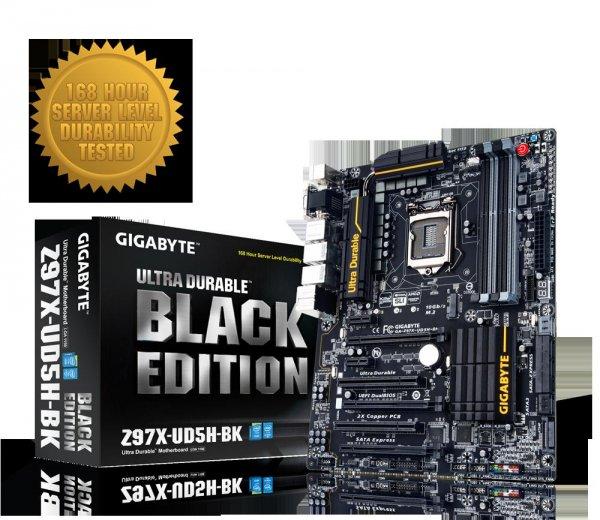 Gigabyte GA-Z97X-UD5H-BK (Black Edition) Sockel 1150 nur für Intel Prozessoren für 139,00 € zzgl. VSK und Gebühren