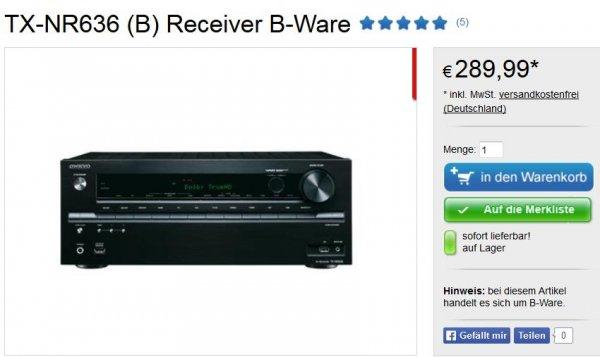 Onkyo TX-NR636 (B-Ware) im Onkyo B-Waren Shop zu 289,99 EUR