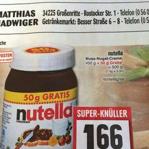 Edeka (lokal) Nutella 500g 1,66€,  pick up 12 er 2,50€, Punica 0,79€