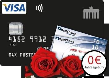 Deutschland Kreditkarte kostenlose VISA Card mit 2x10€ Bestchoice- Gutschein