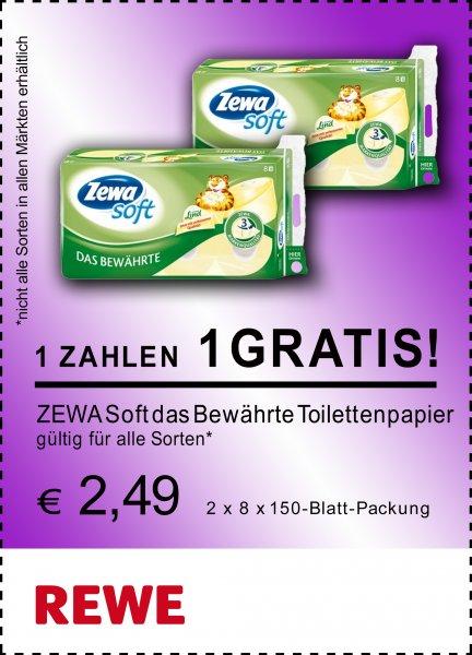 REWE - 16 Packungen ZEWA Toilettenpapier für 15,00 EUR / je Packung 0,93 EUR statt 2,49 EUR
