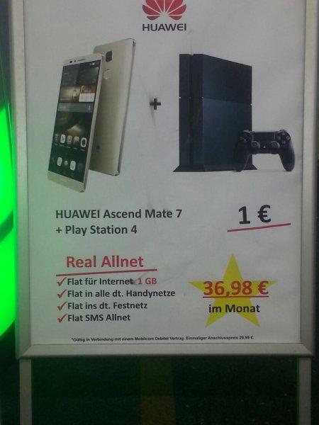 [Saturn Köln] MD-Vodafone/AllnetFlat/SMS Flat/1GB LTE/ PlayStation 4+ Huawei ascend mate 7 für eff. 6,44€/Monat