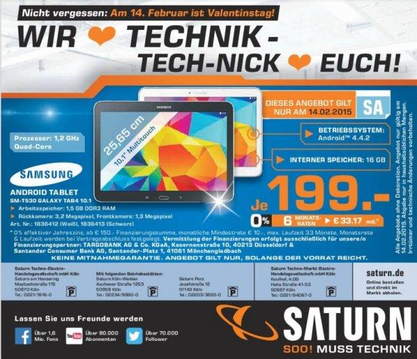 """[Lokal Saturn Köln] Nur am 14.02...10.1"""" (25,65cm) Samsung Galaxy Tab 4 10.1 T530N WiFi/Bluetooth V4.0/GPS 16GB für 199,-€"""