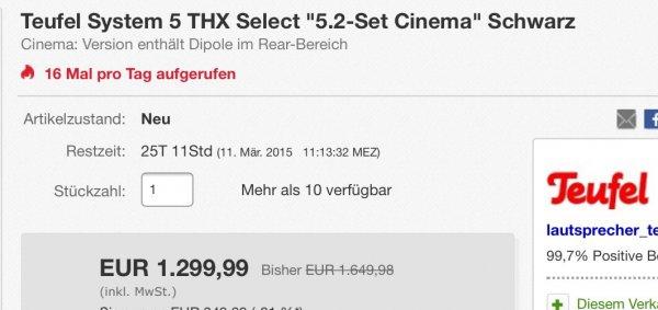 Rabatt auf Teufel fast alle Systeme - z.B. System 5 THX Select 2 - 5.2 Cinema 1299,99€ anstatt 1649,99€ (-21% auf Teufel)